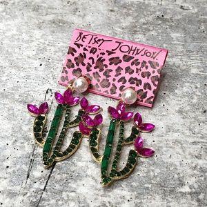 New BETSEY JOHNSON Rhinestone Pearl Cactus Earring